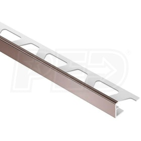 "Schluter JOLLY - Edging Profile - For 1/2"" Thick Tile - 8' 2-1/2"" Length - Red Brown Coated Aluminum"