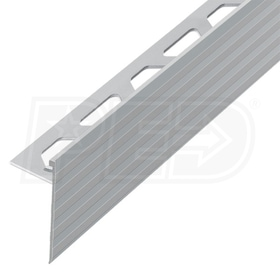 "Schluter SCHIENE-STEP - Edging Profile - For 3/8"" Thick Tile - 1-3/16"" Face Height - 8' 2-1/2"" Length - Satin Nickel Anodized Aluminum"