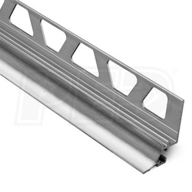 "Schluter DILEX-AHKA - Cove Shaped Profile - For 1/2"" Wall Tile - 8' 2-1/2"" Length - Brushed Chrome Anodized Aluminum"