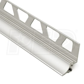 "Schluter DILEX-AHKA - Cove Shaped Profile - For 3/8"" Wall Tile - 8' 2-1/2"" Length - Satin Nickel Anodized Aluminum"