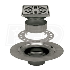 "Schluter KERDI-DRAIN - Stainless Steel Flange - Drain Kit - 2"" Drain Outlet - 4"" Square Grate - Tileable Covering Support"