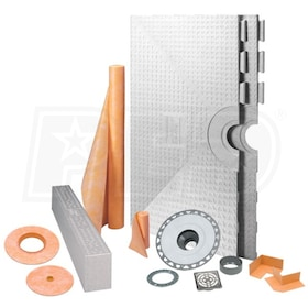 "Schluter KERDI-SHOWER-KIT - 48"" x 48"" Tray - Shower Kit - Center Drain - PVC Flange - Tileable Covering Support"