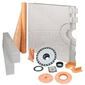 "Schluter KERDI-SHOWER-KIT - 32"" x 60"" Tray - Shower Kit - Center Drain - ABS Flange - Tileable Covering Support"