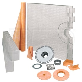 "Schluter KERDI-SHOWER-KIT - 32"" x 60"" Tray - Shower Kit - Center Drain - PVC Flange - Tileable Covering Support"
