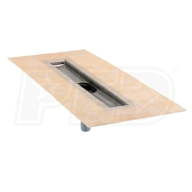 "Schluter KERDI-LINE - 54"" Outer Length - Linear Drain Channel Body - Center Outlet - 52"" Grate Channel - Stainless Steel"