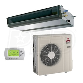 Mitsubishi - 9k BTU Cooling + Heating - M-Series Concealed Duct Air Conditioning System - 15.0 SEER