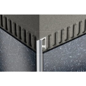 "Schluter INDEC - Tile Edging Profile - For 3/8"" Thick Tile - 8' 2-1/2"" Length - Satin Anodized Aluminum"
