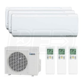 Daikin Wall Mounted 3-Zone System - 24,000 BTU Outdoor - 7k + 7k + 15k Indoor - 16.6 SEER