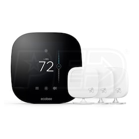 ecobee ecobee3 - Smart Wi-Fi Thermostat - Smarter Bundle - 2H/2C - 7-Day Programmable - HomeKit Enabled