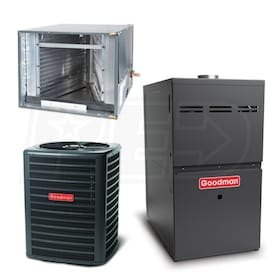 Goodman - 5 Ton Cooling - 120,000 BTU/Hr Heating - Air Conditioner & Furnace Package - 14 SEER - 80% AFUE - Horizontal