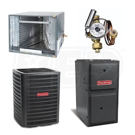 Goodman High Efficiency - 2.5 Ton Cooling - 80,000 BTU Heating - Air Conditioner & Furnace Package - 15.5 SEER - 96% AFUE - Horiz.