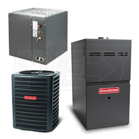Goodman Standard Efficiency - 3 Ton Cooling - 100,000 BTU/Hr Heating - Air Conditioner & Furnace Package - 13 SEER - 80% AFUE - Upflow