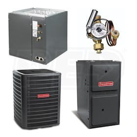 Goodman High Efficiency - 3.5 Ton Cooling - 100,000 BTU/Hr Heating - Air Conditioner & Furnace Package - 15.5 SEER - 96% AFUE - Upflow