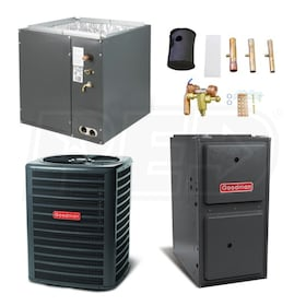 Goodman High Efficiency - 5 Ton Cooling - 120,000 BTU/Hr Heating - Air Conditioner & Furnace Package - 16 SEER - 96% AFUE - Upflow