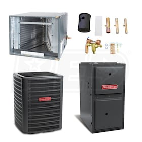 Goodman High Efficiency - 4 Ton Cooling - 120,000 BTU/Hr Heating - Heat Pump & Furnace Package - 15 SEER - 96% AFUE - Horizontal