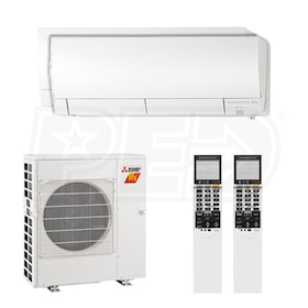 Mitsubishi Wall Mounted 2-Zone H2i System - 20,000 BTU Outdoor - 9k + 12k Indoor - 17.0 SEER
