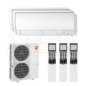 Mitsubishi Wall Mounted 3-Zone H2i System - 42,000 BTU Outdoor - 15k + 15k + 15k Indoor - 19.0 SEER