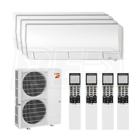 Mitsubishi Wall Mounted 4-Zone H2i System - 42,000 BTU Outdoor - 9k + 9k + 15k + 15k Indoor - 19.0 SEER