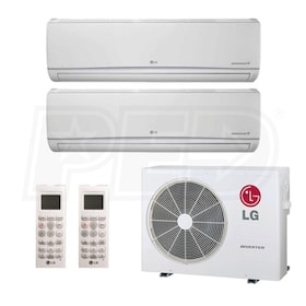 LG Wall Mounted 2-Zone System - 18,000 BTU Outdoor - 7k + 9k Indoor - 21.9 SEER
