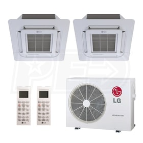 LG Ceiling Cassette 2-Zone System - 18,000 BTU Outdoor - 12k + 12k Indoor - 22.0 SEER