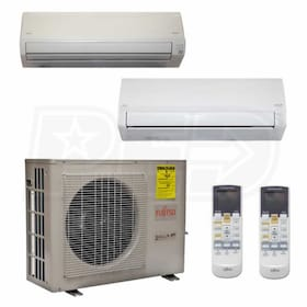 Fujitsu Wall Mounted 2-Zone System - 24,000 BTU Outdoor - 9k + 18k Indoor - 18.0 SEER