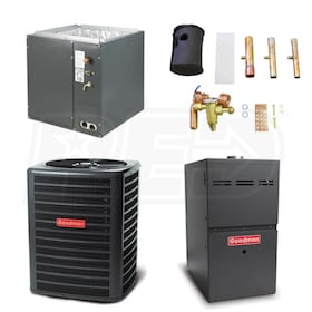 Goodman - 4 Ton Cooling - 100,000 BTU/Hr Heating - Heat Pump & Furnace Package - 14 SEER - 80% AFUE - Upflow