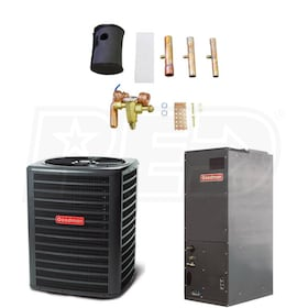 Goodman - 3 Ton Cooling - 32,800 BTU/Hr Heating - Heat Pump & Air Handler Package - 14 SEER - 8.2 HSPF - Multi-Position