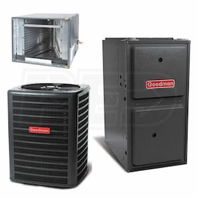 Goodman - 2.5 Ton Cooling - 60k BTU/Hr Heating - Heat Pump + Furnace Kit - 14.0 SEER - 96% AFUE - For Horizontal Installation