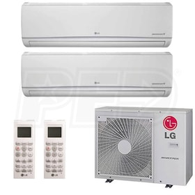 LG Wall Mounted 2-Zone System - 30,000 BTU Outdoor - 15k + 18k Indoor - 19.7 SEER