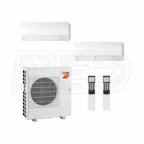 Mitsubishi Wall Mounted 2-Zone H2i System - 30,000 BTU Outdoor - 18k + 18k Indoor - 19.0 SEER