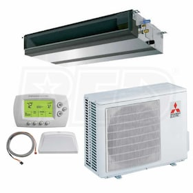 Mitsubishi - 30k BTU Cooling Only - P-Series Concealed Duct Air Conditioning System - 15.5 SEER
