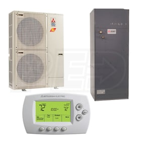 Mitsubishi - 42k BTU Cooling + Heating - P-Series H2i Multi-Position Air Handler Air Conditioning System - 15.3 SEER