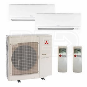 Mitsubishi Wall Mounted 2-Zone System - 20,000 BTU Outdoor - 9k + 15k Indoor - 16.7 SEER