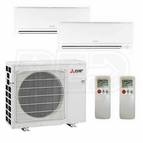 Mitsubishi Wall Mounted 2-Zone System - 30,000 BTU Outdoor - 15k + 15k Indoor - 17.6 SEER