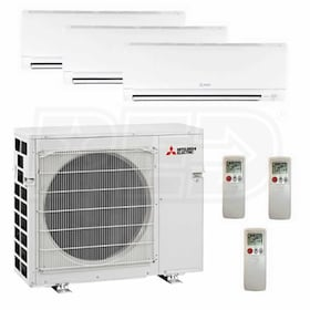 Mitsubishi Wall Mounted 3-Zone System - 36,000 BTU Outdoor - 9k + 9k + 15k Indoor - 17.6 SEER