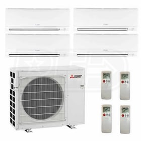 Mitsubishi Wall Mounted 4-Zone System - 36,000 BTU Outdoor - 6k + 6k + 12k + 12k Indoor - 17.6 SEER