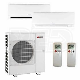 Mitsubishi Wall Mounted 2-Zone System - 42,000 BTU Outdoor - 18k + 24k Indoor - 17.5 SEER