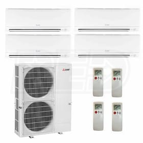 Mitsubishi Wall Mounted 4-Zone System - 48,000 BTU Outdoor - 9k + 12k + 12k + 12k Indoor - 16.8 SEER