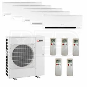 Mitsubishi Wall Mounted 5-Zone System - 42,000 BTU Outdoor - 6k + 6k + 6k + 6k + 6k Indoor - 17.5 SEER