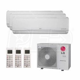 LG Wall Mounted 3-Zone System - 36,000 BTU Outdoor - 7k + 7k + 18k Indoor - 21 SEER