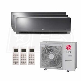 LG Art Cool Mirror Wall Mounted 3-Zone System - 30,000 BTU Outdoor - 9k + 9k + 18k Indoor - 21 SEER