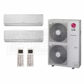 LG Wall Mounted 2-Zone System - 48,000 BTU Outdoor - 24k + 24k Indoor - 19.5 SEER