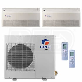 Gree Universal Mounted 2-Zone System - 30,000 BTU Outdoor - 12k + 12k Indoor - 21.0 SEER