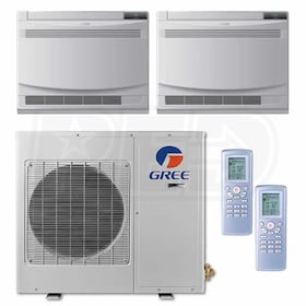 Gree Floor Standing 2-Zone System - 24,000 BTU Outdoor - 9k + 12k Indoor - 20.5 SEER