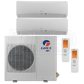 Gree TERRA Wall Mounted 2-Zone System - 18,000 BTU Outdoor - 9k + 9k Indoor - 22.0 SEER