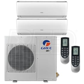 Gree VIREO Wall Mounted 2-Zone System - 24,000 BTU Outdoor - 9k + 9k Indoor - 20.5 SEER
