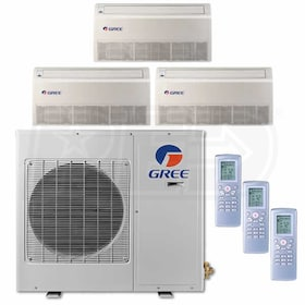 Gree Universal Mounted 3-Zone System - 24,000 BTU Outdoor - 9k + 12k + 12k Indoor - 20.5 SEER