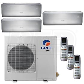 Gree CROWN Wall Mounted 3-Zone System - 30,000 BTU Outdoor - 9k + 9k + 18k Indoor - 21.0 SEER