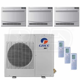 Gree Floor Standing 3-Zone System - 30,000 BTU Outdoor - 12k + 12k + 18k Indoor - 21.0 SEER