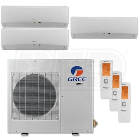 Gree TERRA Wall Mounted 3-Zone System - 30,000 BTU Outdoor - 9k + 9k + 12k Indoor - 21.0 SEER